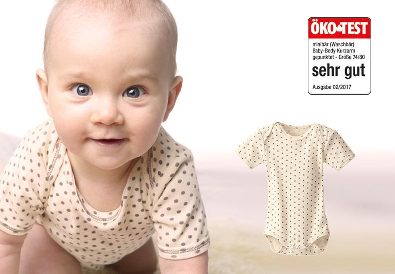 """cae8cb7111e36b Ökotest  """"Sehr gut"""" für unseren gepunkteten minibär Baby-Body in Gr."""