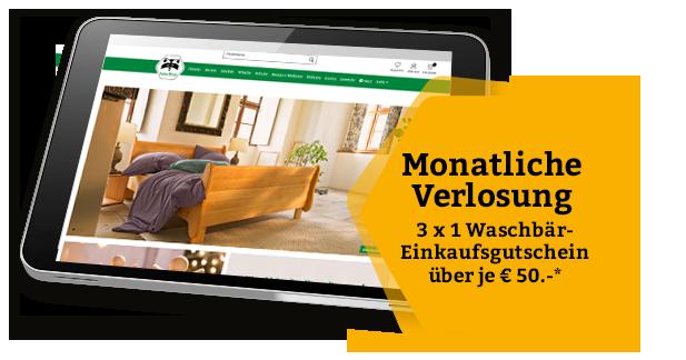 65e2e27944765d Monatliche Verlosung von 3 x 1 Waschbär-Einkaufsgutscheinen über je € 50