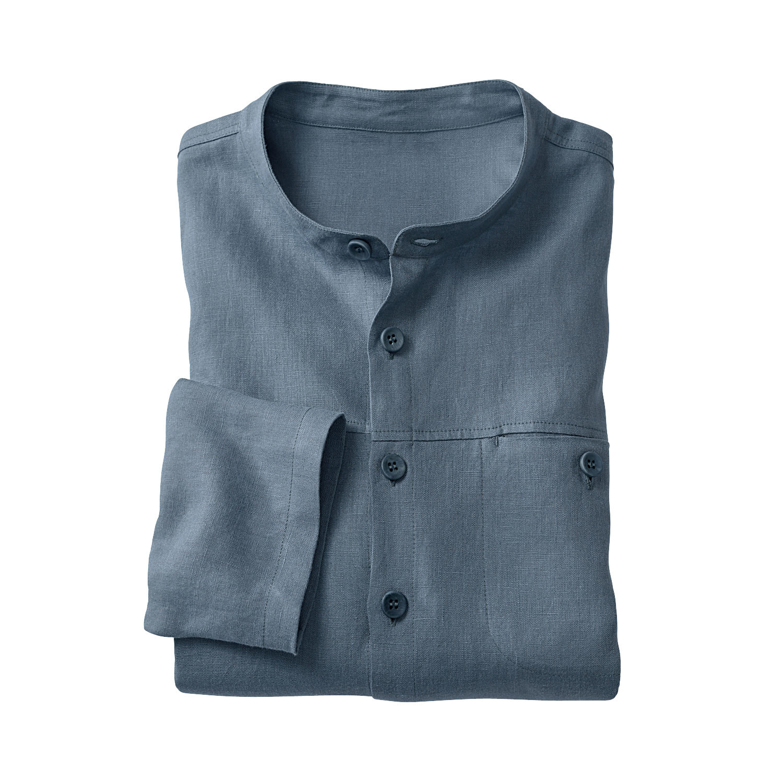 Leinenhemd mit Langarm, rauchblau from