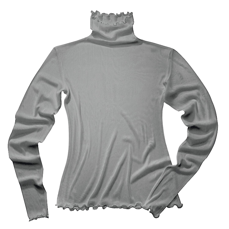 Langarmshirt mit Stehkragen aus Bio-Seide, platin from Waschbär