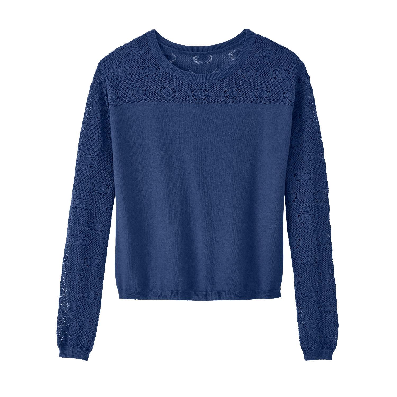 Pullover mit Ajour-Ärmeln, aus Bio-Baumwolle, tinte from Waschbär