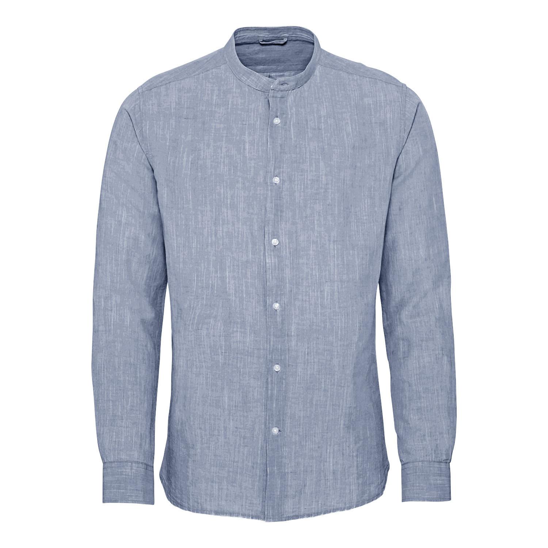 Hemd Langarm aus Bio-Baumwolle und Bio-Leinen, nachtblau from Waschbär