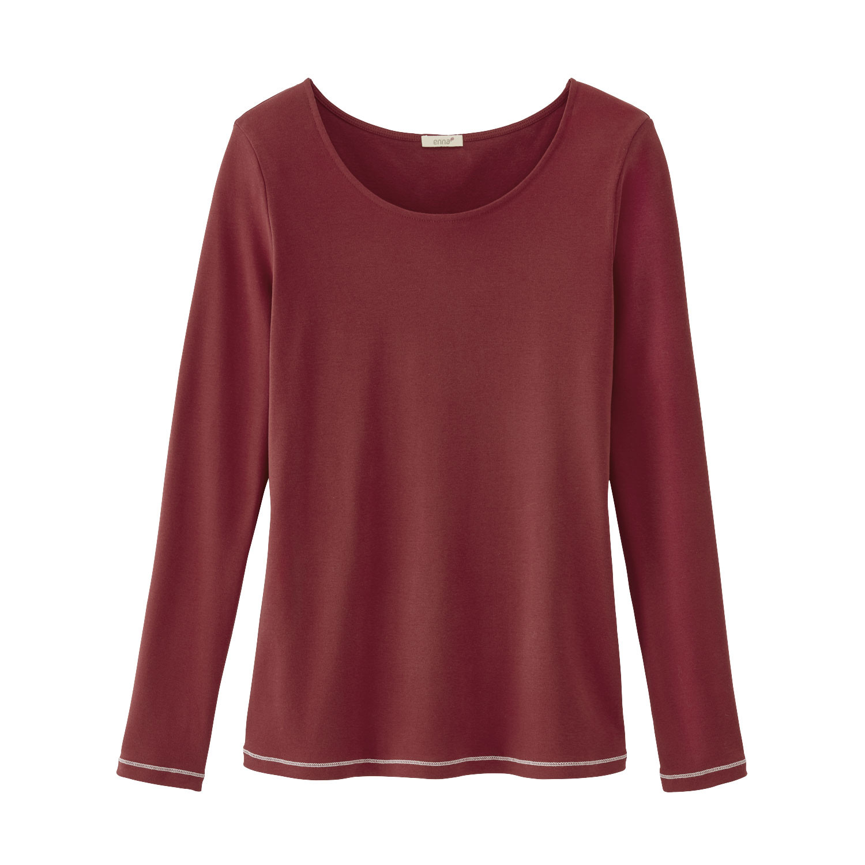 Langarmshirt mit Kontrastnaht aus Bio-Baumwolle, ziegelrot from Waschbär