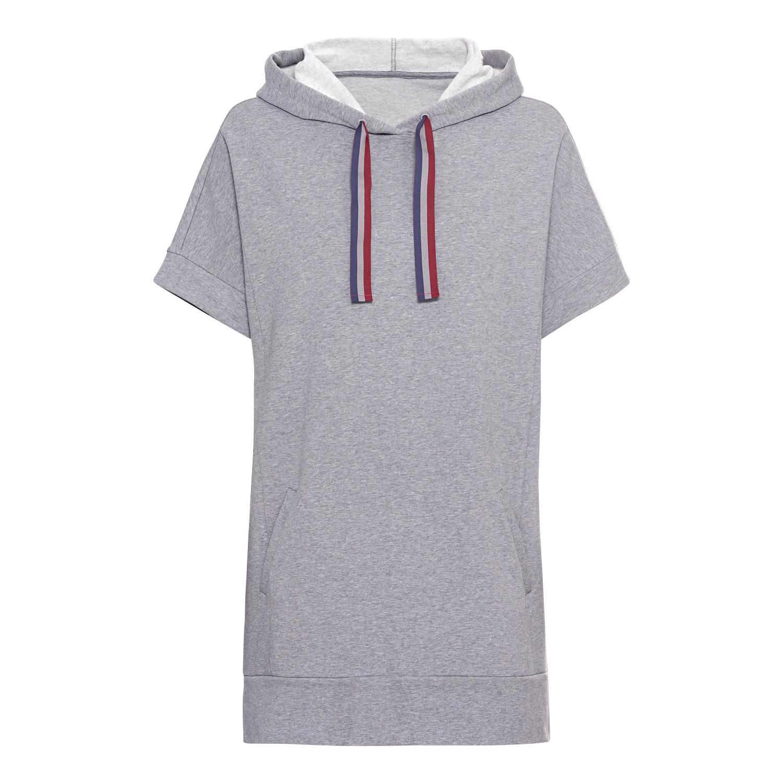 Oversized Kapuzen-Shirt aus Bio-Baumwolle mit Tunnelzugband, jeans-melange from Waschbär