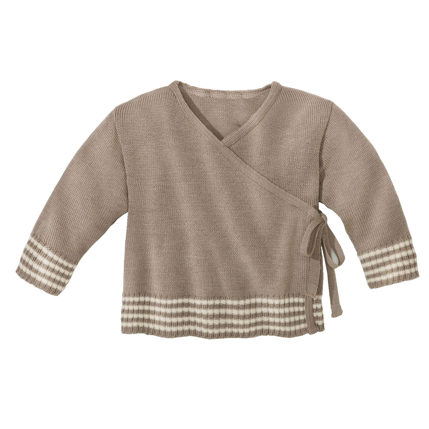 Wollstrick-Wickelpullover, taupe