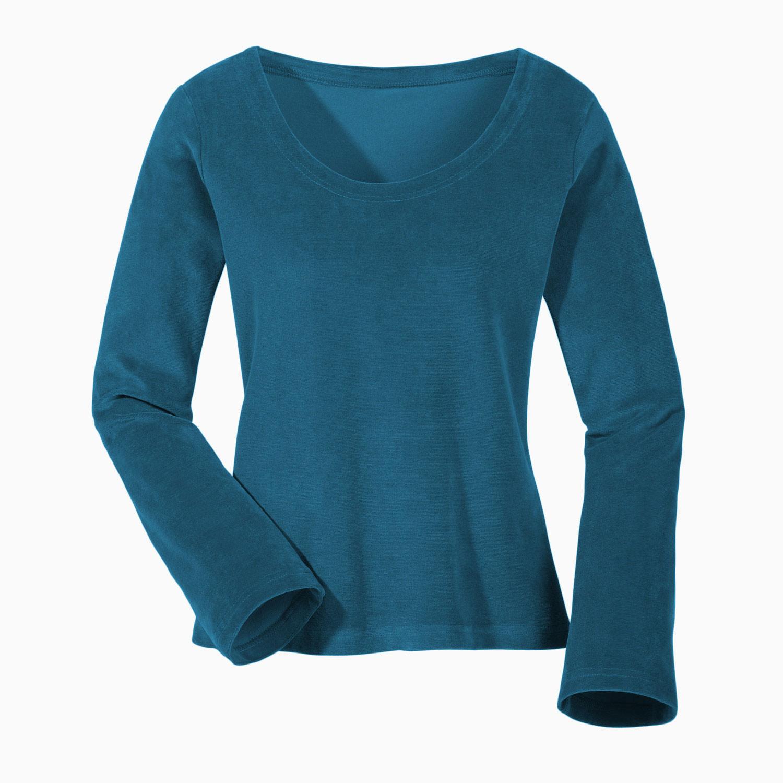 Nicki-Shirt, Langarm aus Bio-Baumwolle, petrol from Waschbär