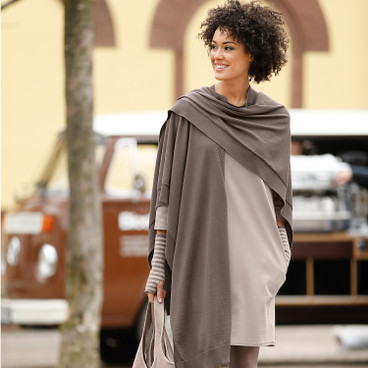 Strick-Cape, taupe
