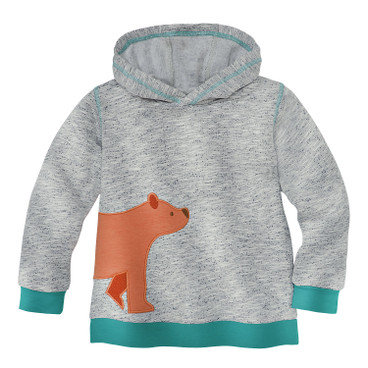 Sweat-Pullover mit Bär-Applikation, grau