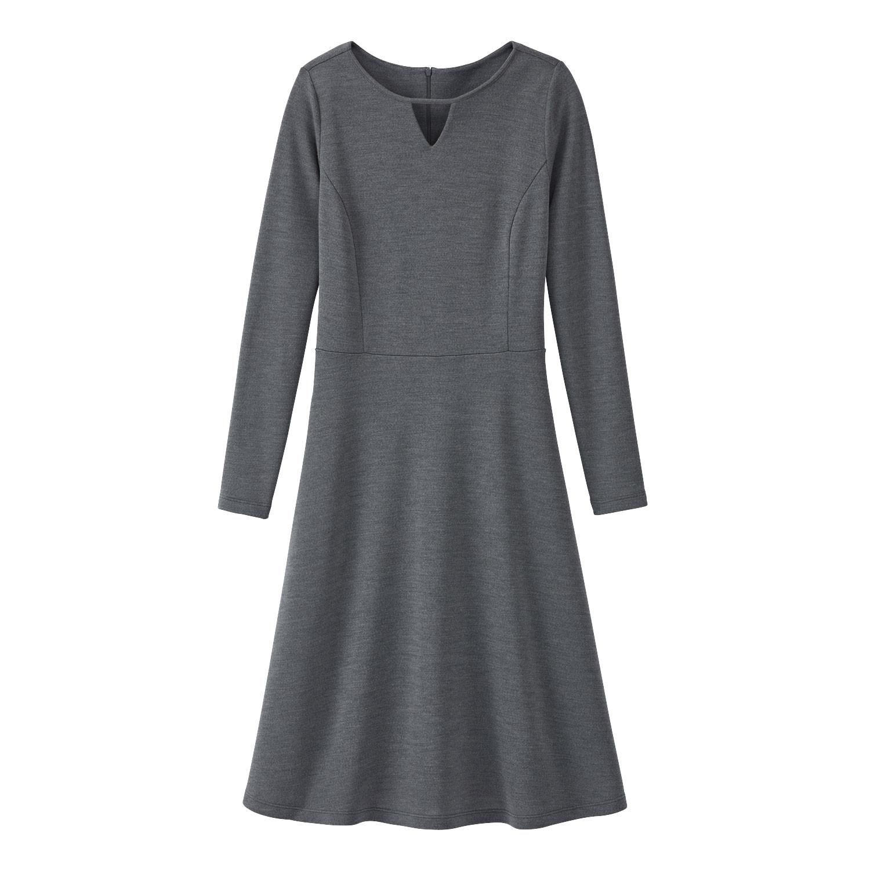 Feminines Wolljerseykleid aus Bio-Merinowolle mit Tunika-Ausschnitt, anthrazit from Waschbär