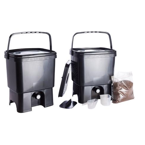 Kompostbehälter Küche   Kuchen Komposter Set Bokashi 2 Eimer Plus Bokashi Ferment Waschbar