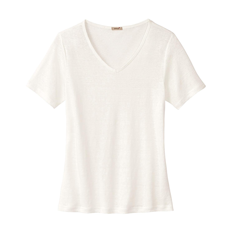 Kurzarmshirt aus Bio Baumwolle, naturweiß Enna