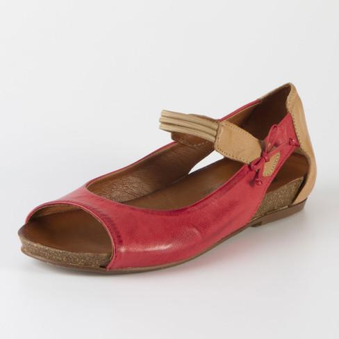 Sandale, rot/camel 36