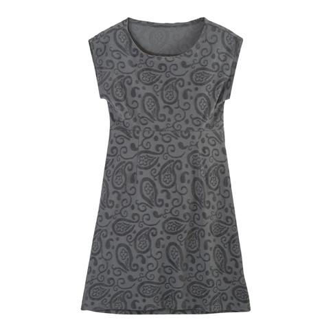 Intarsien-Kleid kurz aus Bio-Nicki, platin 40