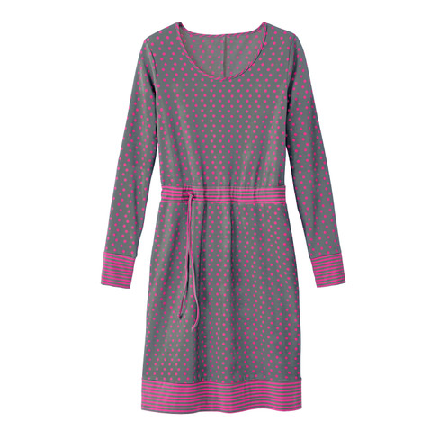 Werben Angebote Tupfenkleid, grau-pink 40/42