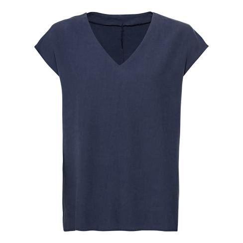 Blusenshirt aus TENCEL™ Fasern mit V-Ausschnitt, nachtblau