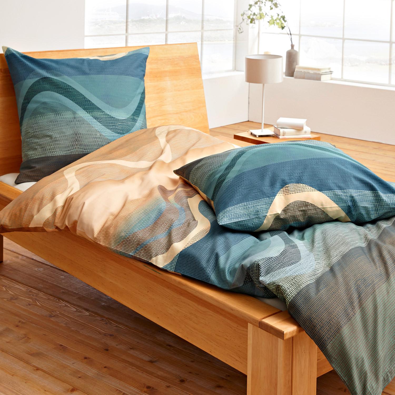 bio feinbiber bettw sche garnitur 2 tlg petrol bunt. Black Bedroom Furniture Sets. Home Design Ideas