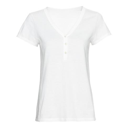 Kurzarmshirt aus Bio-Baumwolle mit Knopfleiste am V-Ausschnitt, naturweiß