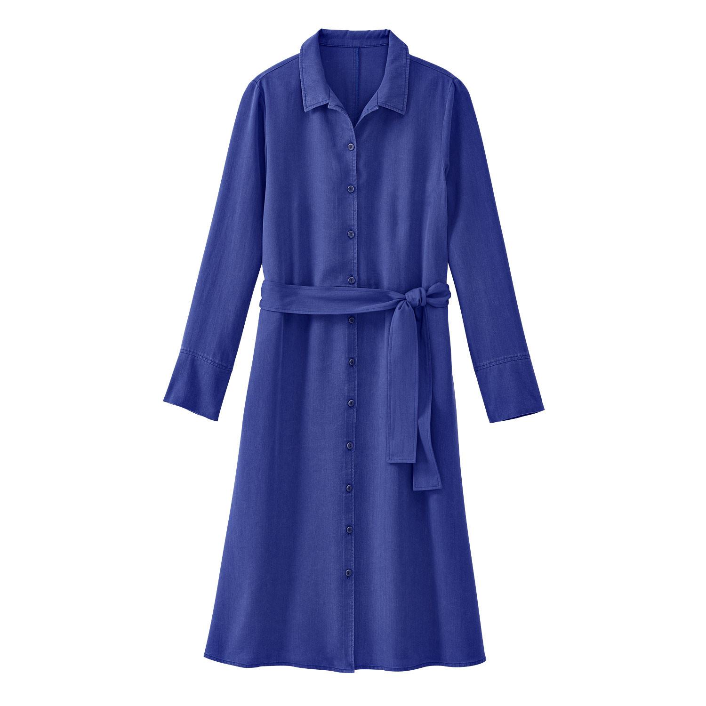 Hemdkleid aus TENCEL™ Fasern mit Bindegürtel, ultramarin from Waschbär