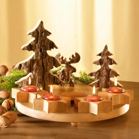 Adventskranz mit teelicht - Adventsdeko aus holz ...