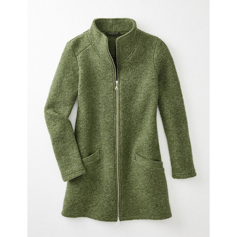 Walkjacke in aktueller Longform, pistazie