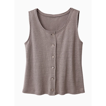 Leinenjersey-Top, taupe