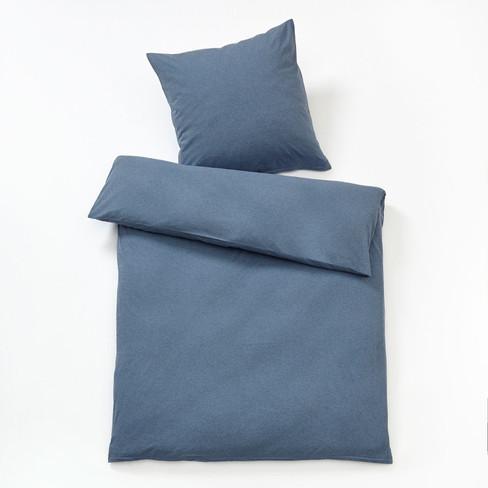 Schipkau Hörlitz Angebote Bio-Melange-Jersey-Bettwäsche-Programm, jeansblau 155 x 200 cm
