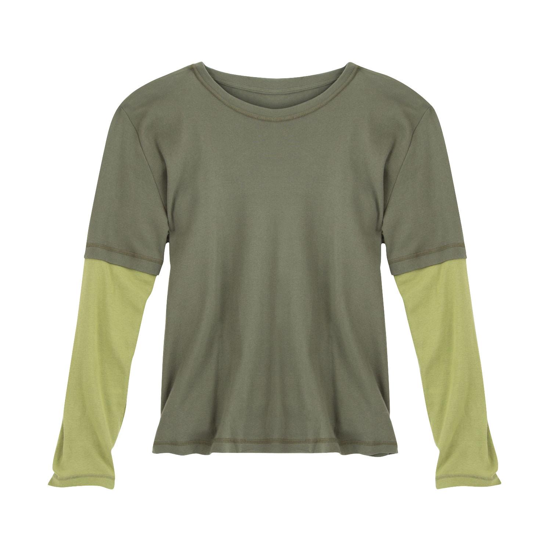 gruenheld langarmshirt 2 in 1 aus bio baumwolle khaki farngr n. Black Bedroom Furniture Sets. Home Design Ideas
