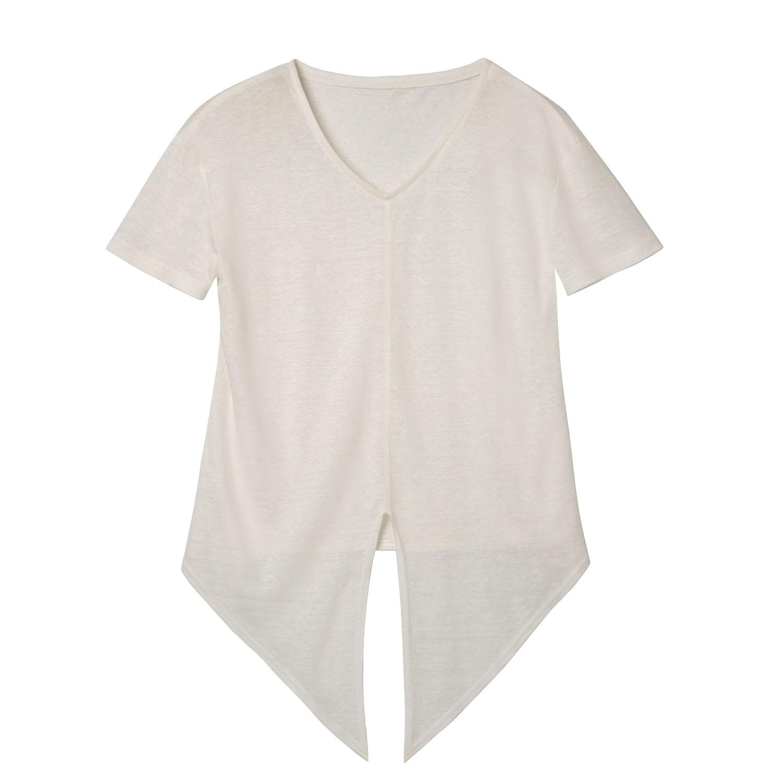 T-Shirt mit Knoten aus Leinen, naturweiß from Waschbär