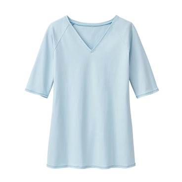 V-Neck-Shirt, eisblau