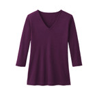 V-Shirt 3/4 Arm, plum