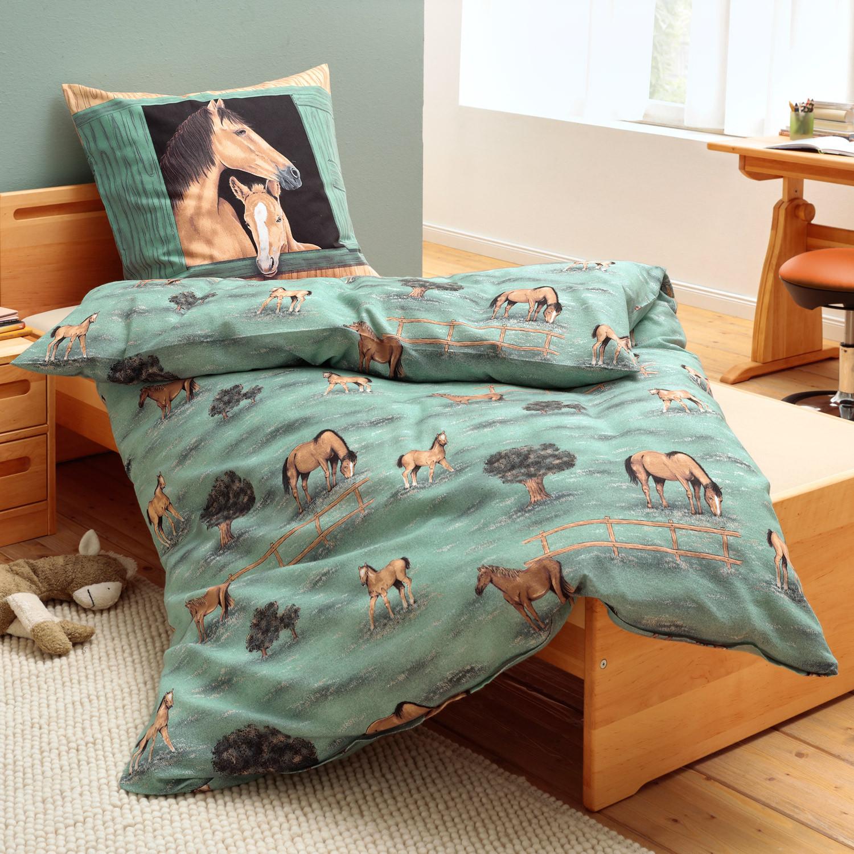 feinbiber bettw sche garnitur pferd 2 tlg gr n. Black Bedroom Furniture Sets. Home Design Ideas
