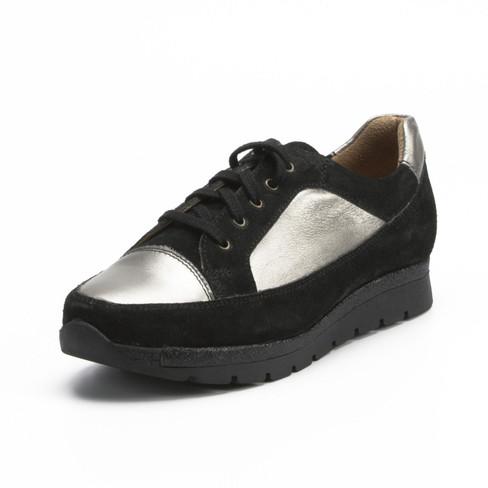 Sneaker, schwarz/silber 41