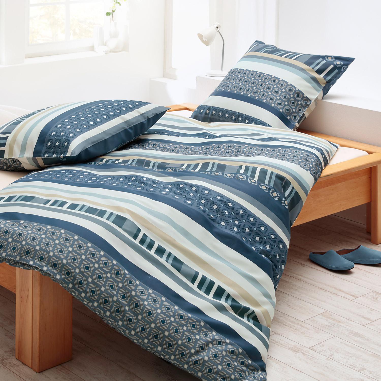 bio biber bettw sche garnitur 2 tlg rauchblau bunt. Black Bedroom Furniture Sets. Home Design Ideas