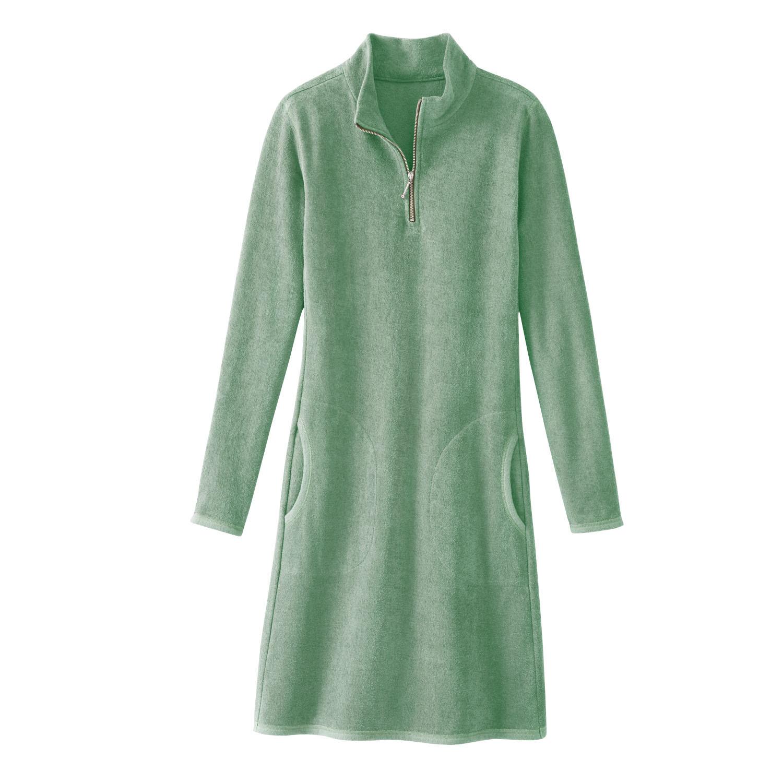 Frotteekleid aus Bio-Baumwolle mit Zipper-Stehkragen, Minze from Waschbär