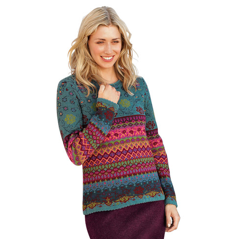 Jacquard-Pullover, petrol-multicolor 44/46