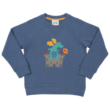 Sweat-Pullover mit Drachen-Applikation, jeansblau