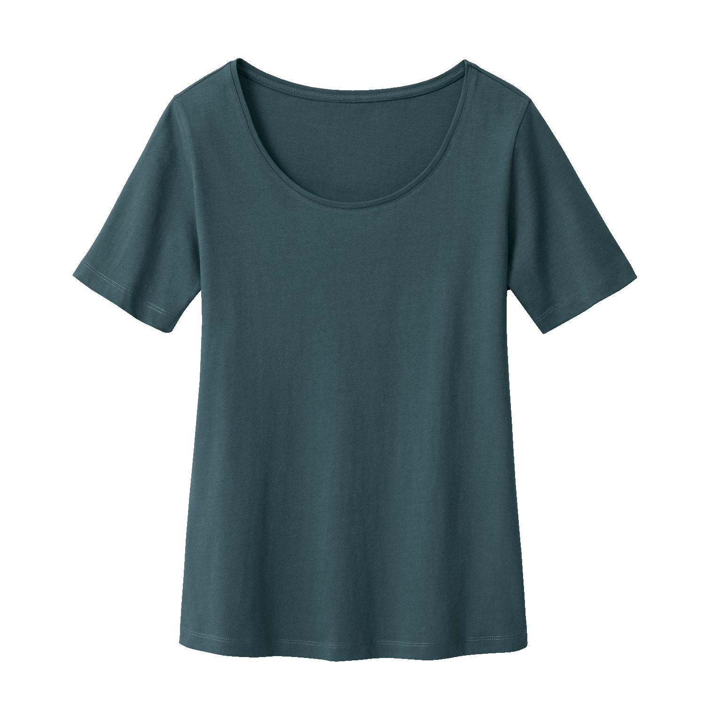 Kurzarmshirt mit Rundhals aus Bio-Baumwolle, smaragd from Waschbär