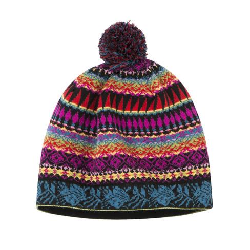 Jacquard-Mütze, schwarz-gemustert Einheitsgröße