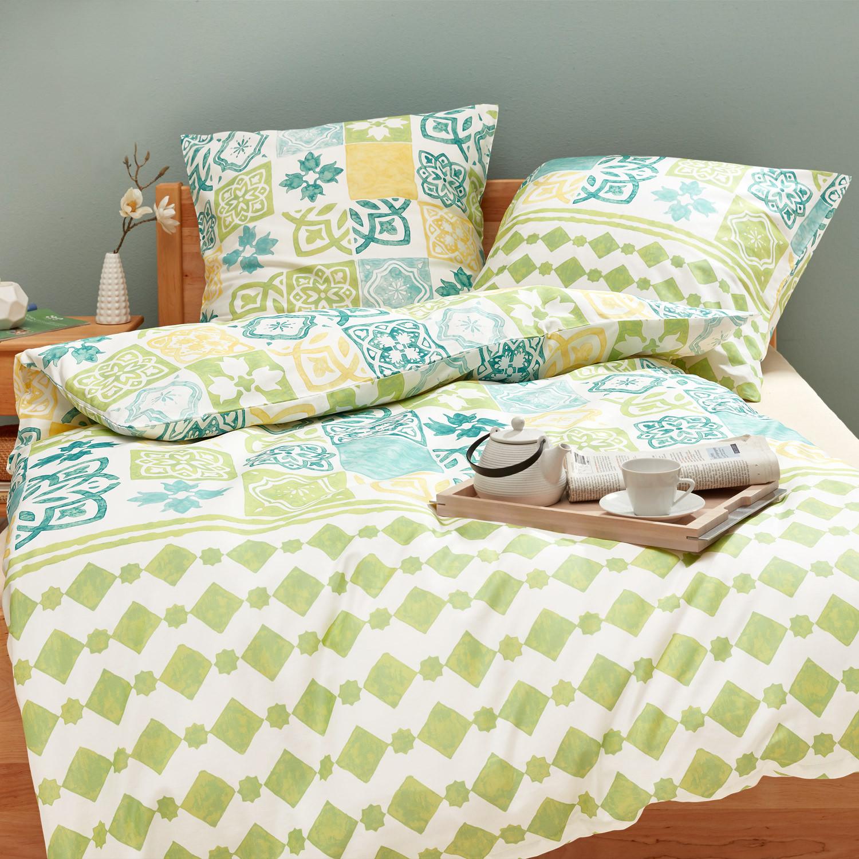 bio biber bettw sche garnitur 2 tlg gr n bunt. Black Bedroom Furniture Sets. Home Design Ideas