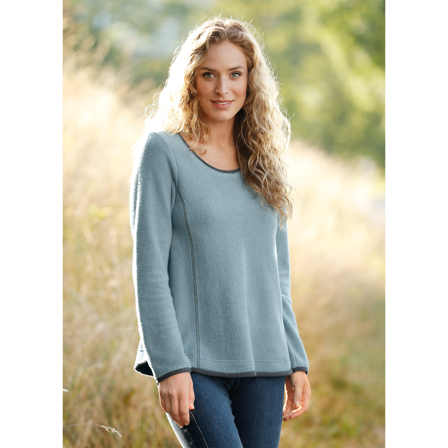 Fleece-Langarmpullover, schiefer