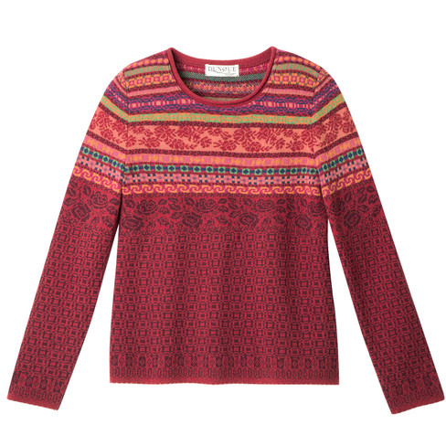 Jacquard-Pullover mit Lambswool, rot-gemustert