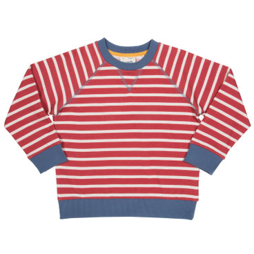 Sweat-Pullover, rot/weiß