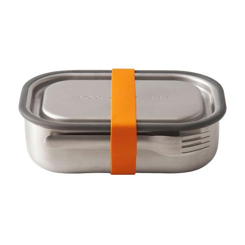 Edelstahl Vesperbox mit Gabel, orange
