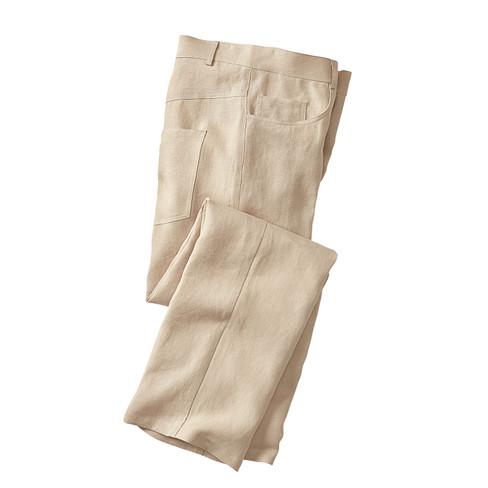 Leinenhose im 5-Pocket-Style, sand 52