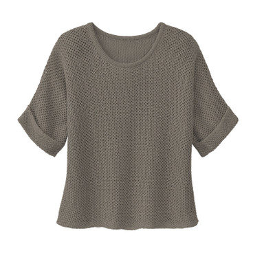 Strickpullover mit Wabenmuster, taupe