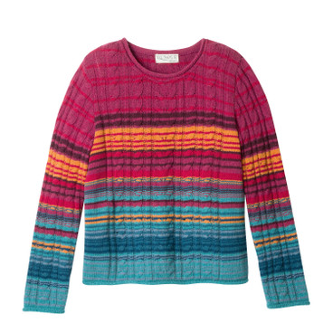 Zopfpullover mit Lambswool, petrol-multicolor