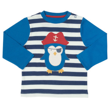 Shirt mit Pinguin-Applikation, blau