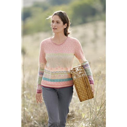 5b093f542d69 Dunque Schweikardt Jacquard-Pullover aus Bio Baumwolle, rose-gemustert