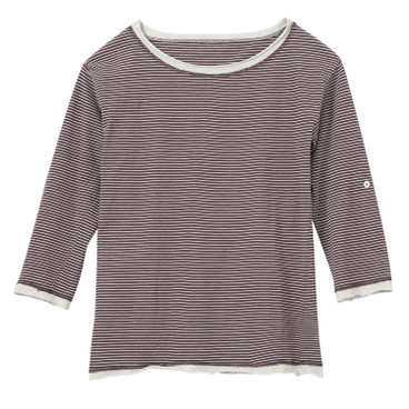 Shirt mit 3/4-Arm, bordeaux-geringelt