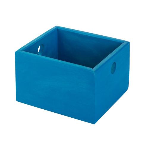 Ordnungskiste klein, blau lasiert H 12 x B 19,5...